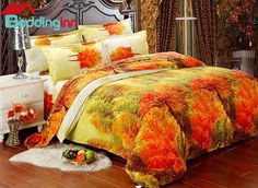Splendid Forest #Scenery 100% Cotton 4-Piece #Duvet Cover Sets
