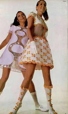 60's Courrèges space age fashion style color photo print ad 60s models magazine shift dress boots see through thru midriff bare mini dress skirt