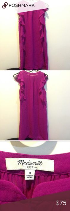 Madewell Silk Fuchsia Ruffle Dress Madewell Silk Fuchsia Ruffle Dress! Size 0. Excellent condition!! Will fit size small as well as it is a shift dress. Amazing silk material. No slip. So perfect for spring and summer!!! Madewell Dresses