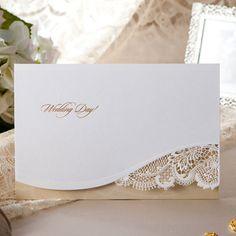 White Laser Cut Lace Brown Wedding Invitations - BH 1120   ItsInvitation