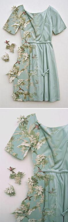 ron isaacs - silk party dress... made of WOOD!