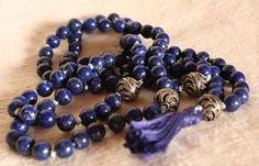 Lapis Lazuli Mala Prayer Beads Sterling Silver Tassel by QuietMind