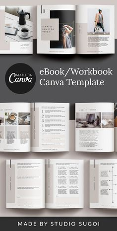Use this minimalist and elegant, eBook and workbook hybrid template made with Canva, to create your next info product, o Online Graphic Design, Graphic Design Programs, Graphic Design Tools, Tool Design, Media Design, Print Design, Cover Page Template, Table Of Contents Page, Marketing Materials