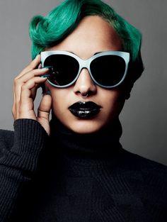 #green hair, black lips, #septum #piercing #bodycandy