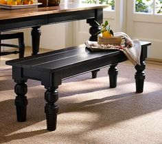 FOR SALE: Primitive-Look Sleek Long Black Table & Two Matching ...