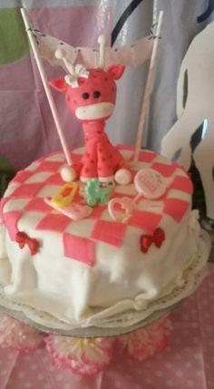 Pink giaffe baby shower