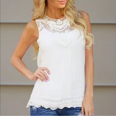 HP 5/29! White Cotton Lace Tank Tunic! White lace and semi sheer cotton tank-tunic with great detailed hem.  Great with jeans, shorts, the beach, or dress it up with the right jewelry.  This is a ⭐️⭐️⭐️⭐️⭐️favorite for my buyers and it will be a go-to piece for you! Tops Tank Tops