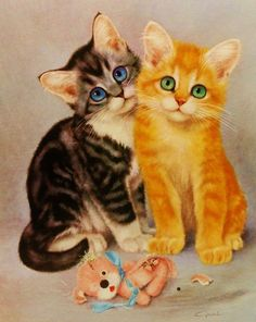 Children Print Illustration, Vintage Cat Art, (frame-ready) 9 x 12 Chatons Oranges, Animal Gato, Image Chat, Cats With Big Eyes, Photo Chat, Hamster, Vintage Cat, Cat Drawing, Beautiful Cats