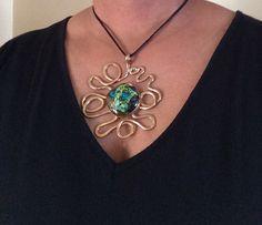 Brass Pendant Bezel Set Transparent Green Blue by 3DGlassDesigns