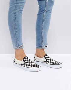 Buy Vans Classic Slip On Trainers In Black Check at ASOS. With free delivery and return options (Ts&Cs apply), online shopping has never been so easy. Get the latest trends with ASOS now. Vans Outfit, Tennis Shoes Outfit, Slip On Trainers, Slip On Sneakers, Sneakers Women, Shoes Women, Vans Classic Slip On, Classic Sneakers, Outfits