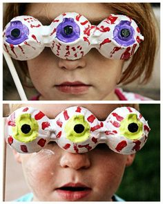 Egg Carton Eyeball Masks We've got our eyes on you. Get ready for a Halloween photo opp (and a clever use of egg cartons) with these cool eyeball masks from Multiples and More. Try leaving off the mask's stick and just hang these sweet peepers as decorations or save them for your after-Halloween dress-up bin.