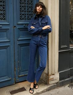 Everyday dark denim 5 pocket jeans with slight flared leg hem. Cotton Sizes S M Waist Hips Length Inseam Model is wearing a size small and model's height is Denim Boots, Dark Denim Jeans, Denim Outfit, Cute Pants, Denim Trends, Denim Fashion, Simple Style, Mom Jeans, Normcore