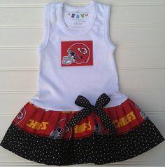 Kansas City Chiefs Tank Dress Available 0-3 months through Size 6/8. $23.00, via Etsy.