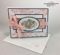 Stamps-N-Lingers.  This pretty Powder Pink/Navy/Gold Birthday card uses the new Label Me Pretty stamp set, some Touches of Texture and the Beautiful You stamp set.  All set atop Powder Pink Fresh Florals DSP!  For free instructions on how to make this card, please visit my blog at: https://stampsnlingers.com/2017/06/03/stampin-up-label-me-lovely-florals-birthday-card/