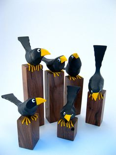 1 x 1 walnut pedestals support each of these black Fat Birds in this set of six. Each of these Fat Birds is firmly attached to the pedestal. Base heights range from 2 on the low side to 7 on the high side. Each bird strikes a different pose. Clay Crafts, Wood Crafts, Arts And Crafts, Paper Crafts, Kids Crafts, Clay Birds, Ceramic Birds, Bird Sculpture, Animal Sculptures