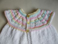 A very quick project - and - No Sewing Up! I have been knitting these cute little baby tops & thought you might like to make them too. Crochet Baby Cardigan Free Pattern, Baby Cardigan Knitting Pattern Free, Kids Knitting Patterns, Baby Sweater Patterns, Knit Baby Sweaters, Baby Hats Knitting, Baby Patterns, Knitted Baby, Free Knitting