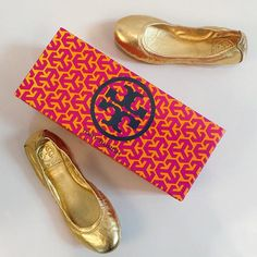 Gold Tory Burch flats, size 6.5  Find more unique consignment pieces at www.revolverboutique.com