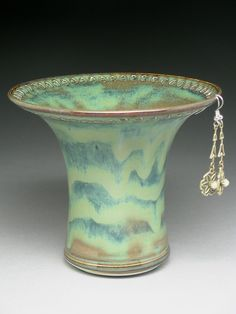 Ceramic Earring Holder  Brown/Green/Blue by barbpots on Etsy, $29.00