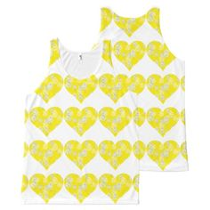 chic floral yellow white hearts pattern All-Over print tank top