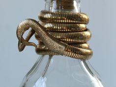 vintage 1970s GINGERALE snake belt, gold stretch belt