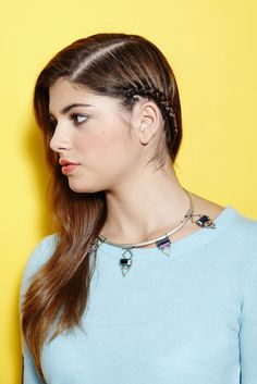 Straight Up: 4 DIY 'Dos For Sleek Hair #refinery29  http://www.refinery29.com/straight-hair#slide8  The Micro Cornrow Adding a little braid makes a side-swept 'do less formal (read: cute with a low-key sweater and on-trend necklace).     BCBGeneration Faux-Leather Sleeve Pullover, $88.00, available at BCBGeneration; Gemma Redux Apocolypse Simple Collar, $956, available at Gemma Redux.