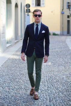 Navy blazer, olive pants
