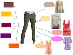 Colors to match with olive pants; fall colors to the left and spring to the right.