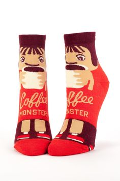 Surefire stimulation from your head down to your toes. Also available in pencil case form. Women's shoe size 5-10.   Coffee Monster Socks by Blue Q. Accessories - Socks Cape Cod, Massachusetts