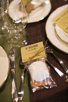 Tabletop decor, s'mores favors. Camping Wedding - Northwest Glamping theme from Shindig Events Weddings in Woodinville 2013. Shane Macomber Photography.