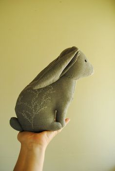Margeaux Davis - Grey rabbit / soft sculpture / textile art / stuffed animal by willowynn