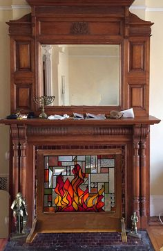 Custom Geometric Mission Fireplace Screen by StainedGlassArtist What a Good Idea!!