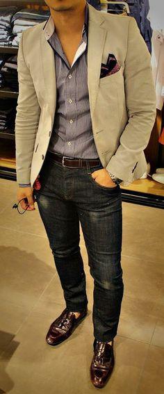 Khaki blazer and dark denim is always a go to.
