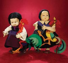 Italian Felt Characters in Variation Design by Lenci. Circa 1928. http://Theriaults.com