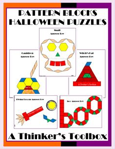 "Pattern Blocks Halloween Puzzles by A Thinker's Toolbox includes 5 Halloween Puzzles; a witch's hat, flying broom, cauldron, skull, and ""boo""."