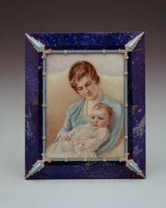 Cartier Frame with Miniature of Adelaide Close Riggs and her Daughter, Marjorie Lapis lazuli, gold, enamel, diamonds, turquoise. Photo: Hillwood Estate, Museum & Gardens.