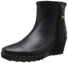 Chooka Womens Side Zip Tribal Ankle Rain Boot Black 10 M US * You can get additional details at the image link.