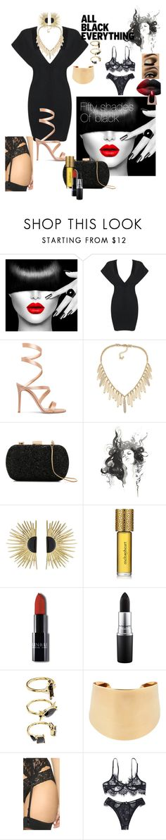 """Fifty shades of black"" by tanya-gosnell-brewer ❤ liked on Polyvore featuring Gianvito Rossi, ABS by Allen Schwartz, Le Lis Blanc, Aurélie Bidermann, Strangelove NYC, MAC Cosmetics, Noir Jewelry, Chloé, Hanky Panky and allblackoutfit"