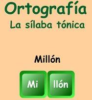 Identificar las sílabas tónicas con esta actividad en línea en español.