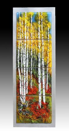 A beautiful hike through the aspens. Fused Glass, Stained Glass, City Landscape, Art Studios, Art Gallery, Paintings, Ceramics, Nature, Inspiration