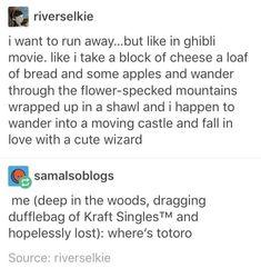 Running away: Ghibli versus reality lol Tumblr Funny, Funny Memes, Hilarious, Jokes, Kubo And The Two Strings, Studio Ghibli Movies, Studio Ghibli Quotes, Howls Moving Castle, Fandoms