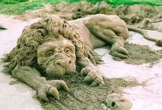 Sand Lion: Beautiful!  #SandSculpture #SandArt #SandCastle