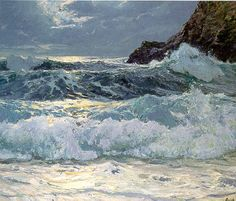 Frederick Judd Waugh (1861-1940). Breakers at Floodtide, 1909
