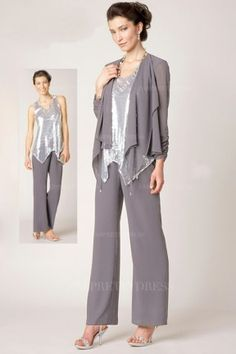 Pant Suits V-neck Ankle-length Chiffon Sequined Mother of the Bride Dress