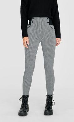 Legging pata de gallo - Pantalones de mujer | Stradivarius Leggings, Striped Pants, Fashion, Clothing, Houndstooth, Colors, Women, Moda, Stripped Pants