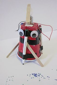 """The """"Art Bot: Build a Wobbly Robot Friend That Creates Art"""" #robotics #engineering project guides students in assembling a cool plastic cup-bodied bot ready to create a marker masterpiece. Build the bot for fun, or use the project as a launch pad for a full independent science project exploration! [Source: Science Buddies, http://www.sciencebuddies.org/science-fair-projects/project_ideas/Robotics_p014.shtml?from=Pinterest] #STEM #scienceproject #summerscience #science #artbot"""
