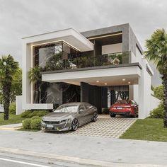 Best Modern House Design, Modern Exterior House Designs, Modern Villa Design, Modern Style Homes, Modern Architecture House, Modern House Plans, Architecture Design, Architecture Interiors, Small House Design