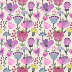 Vector seamless pattern with flowers, leaves, branches