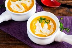 This creamy curried butternut squash bisque is topped with delicious cashew cream. It's so rich and buttery, you'd never guess it's vegan!