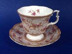 Your place to buy and sell all things handmade Chocolate Cups, Dark Beige, Beige Background, Royal Albert, Lace Design, Teacups, Bone China, Cup And Saucer, Pink Roses
