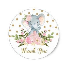 Elephant Thank You Favor Sticker Pink Floral Tag - baby birthday sweet gift idea special customize personalize Elephant Party, Elephant Birthday, Elephant Theme, Elephant Baby Showers, Baby Birthday, Baby Elefante, Baby Shower Invitaciones, Thank You Stickers, Baby Shower Favors